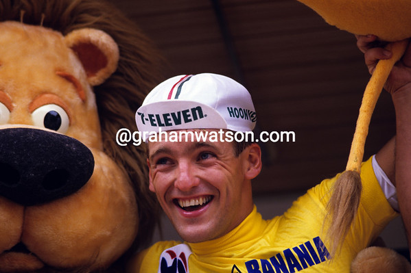 Canadian Star - Alex Stieda becomes the first-ever north American to wear the Yellow Jersey after stage two of the 1986 Tour.