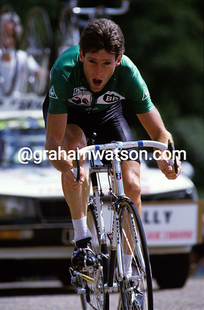 The Green Jersey King - Sean Kelly time trialling in the 1986 Tour de France<br /> <br /> TREASURED IMAGE