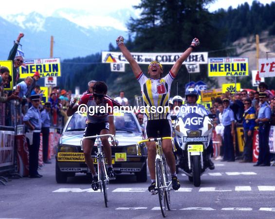 Laurent Fignon beats Anselmo Fuerte at La Plagne in 1987