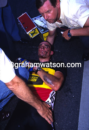 Wilfried Nelissen lies injured after a crash in the 1994 Tour at Armentiéres