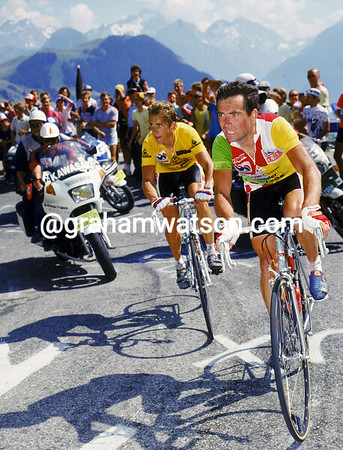 The Gladiators - Bernard Hinault and Greg Lemond duel it out at Alpe d' Huez in 1986.<br /> <br /> TREASURED IMAGE