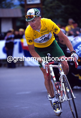 Aussie Gold - Stuart O'Grady wears the Yellow Jersey on an Alpine stage of the 2001 Tour de France.