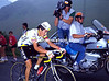 In the Spotlight - Luis Herrera performs for TV during a mountain escape in the 1987 Tour
