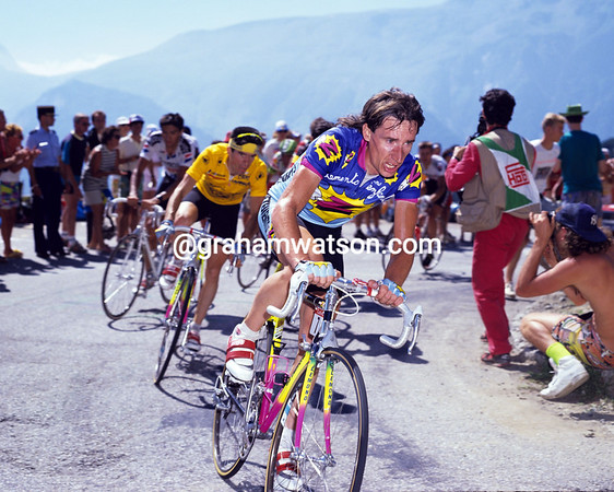 Robert Millar paces Ronan Pensec at L'Alpe d'Huez in the 1990 Tour de France.