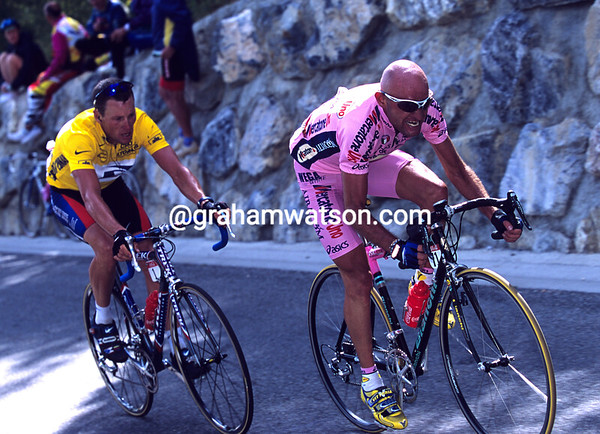 A Fiery Couple - Marco Pantani attacks Lance Armstrong at Courchevel in the 2000 Tour