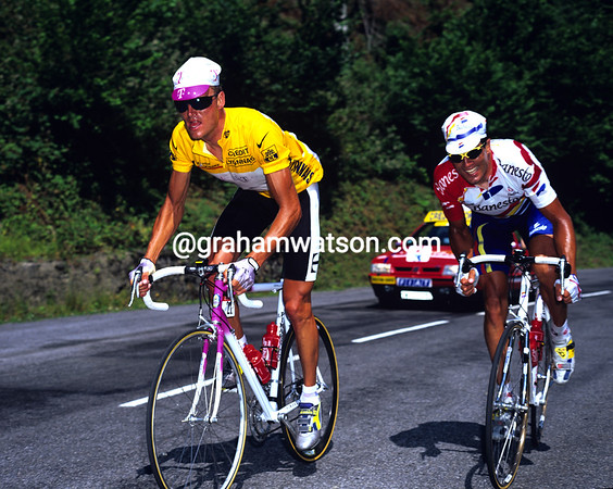The Final Cut - Bjarne Riis starts to drop five-times winner, Miguel Indurain, on Col de Soudet in the 1996 Tour  3.