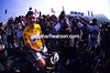 Under the Spotlight - Race-leader Chris Boardman poses for Tour photographers in 1994
