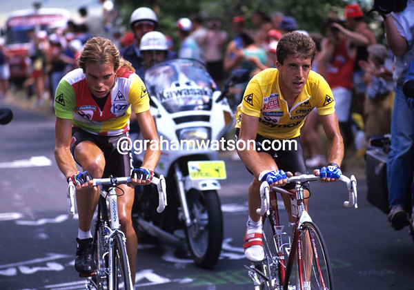 No Contest - Pedro Delgado is about to explode Gert-Jan Theunisse on the Puy de Dome in 1988