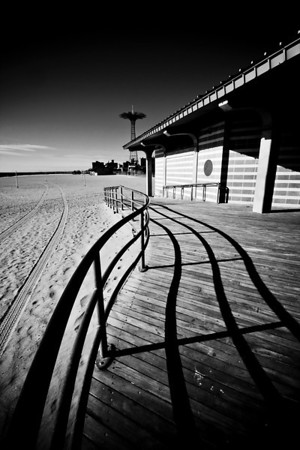 Shadows on the boardwalk