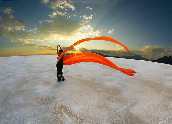 mary_whitesides-flying_ scarf_at_sunset