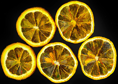 """Lemon Slices This image of lemon slices has been enhanced with an oil painting filter. Catalog #122; Print, matted and framed to 16""""x20""""  ~ Editor's Pick 