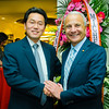 Kevin Lee and Jim Doti, president of Chapman University.<br /> Chapman University