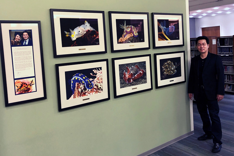 """Early this year (2019), Chapman Univerisity asked if I would like to expand my photo exhibit of Nudibranchs, in the Leatherby Libraries.  I was pleased to do so, dedicating the 2nd installment to my dear sister, Sue Kint.<br /> The Kevin Lee Photography Collection<br /> Onolee Elliott Ph.D Library of Science and Technology<br /> Chapman University, Leatherby Libraries<br /> <a href=""""https://blogs.chapman.edu/library/2019/07/24/diver-kevin-lees-marine-life-photos-brighten-third-floor-of-the-leatherby-libraries/"""">https://blogs.chapman.edu/library/2019/07/24/diver-kevin-lees-marine-life-photos-brighten-third-floor-of-the-leatherby-libraries/</a>"""