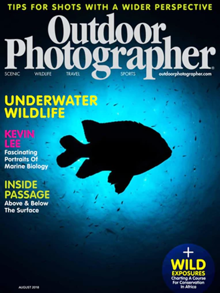 """Outdoor Photography"", August 2018 issue.<br /> Features ""Denizen of the Deep""<br /> By Mark Edward Harris / Photography By Kevin Lee"