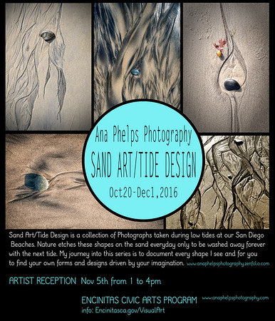 "Solo Photography Exhibit ""Sand Art/Tide Design at the Encintas Civic Center. San Diego, CA."