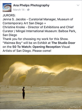 """50 To Watch"" Exhibit at ""The Studio Door"" in North Park, San Diego CA. April to May 2016."