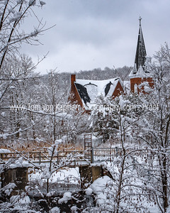Church in snow, Knowlton Quebec