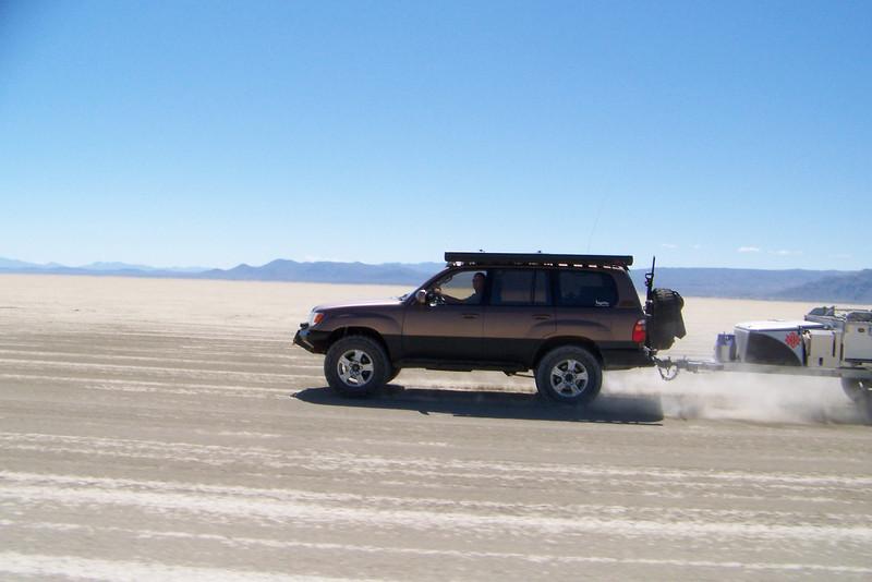 Racing across the Playa.