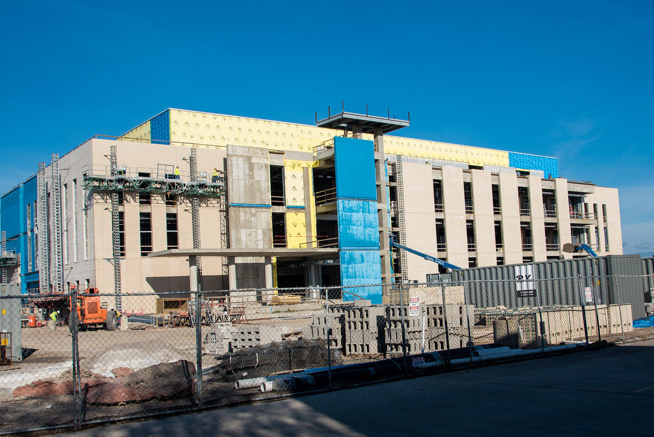 Construction continues on the Tidal Hall site as crews work on the exterior elements.