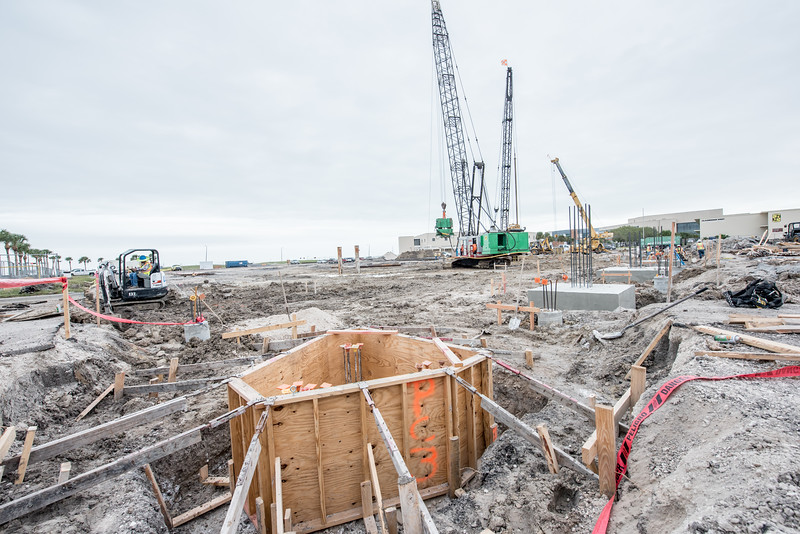 Column piers are placed as the construction for Tidal Hall continues during the Fall semester of 2016.
