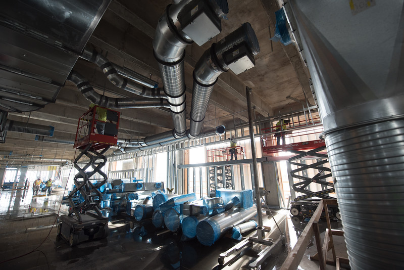 Duct work in progress at the Tidal Hall construction site.