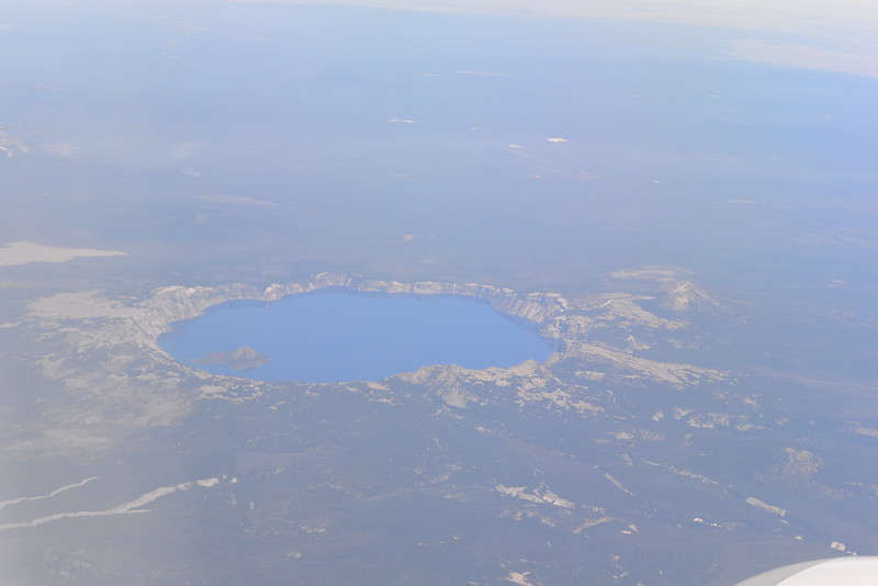 Flying into Seattle, go a view of Crater Lake - stunning