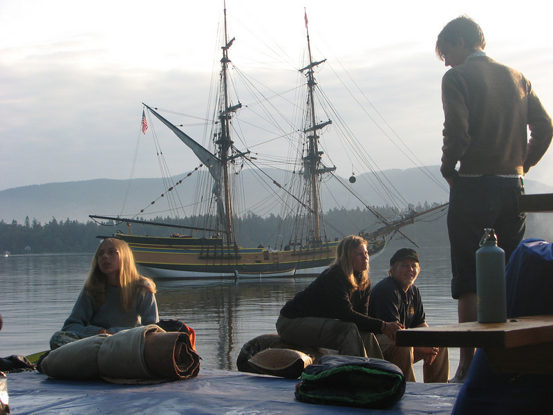 Crew takes a break on shore during an Expedition Voyage aboard the tall ship Lady Washington. Photo by Grays Harbor Historical Seaport Authority.