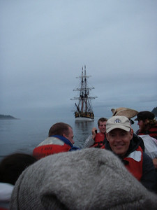 Rowing in a longboat on a misty day during an Expedition Voyage. Photo by Grays Harbor Historical Seaport Authority.