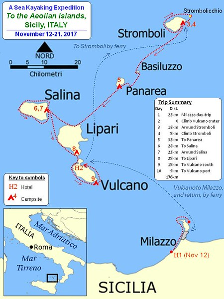 Islands Of Italy Map.2017 Aeolian Islands Italy Seakayakmilos