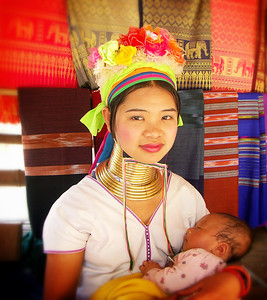 Kayan Girl with her child