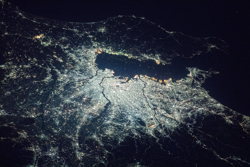 """Capital of its country, it started as a small fishing village named """"Edo"""" and its metro area is now home to over 38 million people. ISS over East Asia. (ANSWER: Tokyo, Japan)"""