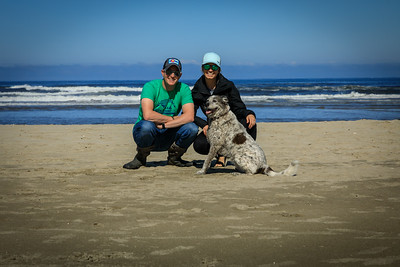 Son Scott with wife Molly and pooch Otis on Oregon Coast