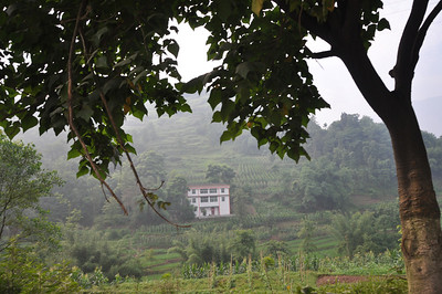Another such hillside, with an inordinately large house on it (most Chinese farmers I've encountered do not live like this...as we saw at Changma!).