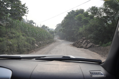 The farther we went, the worse the road got...it eventually became half quasi-paved, half gravel-made-of-road-rubble.  I have no idea where this road ends up if you keep following it...