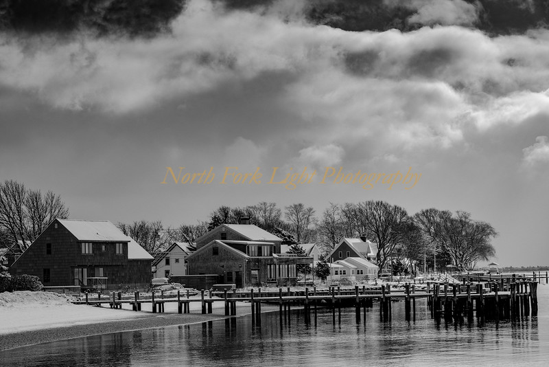 Orient Village waterfront homes. after a short winter storm