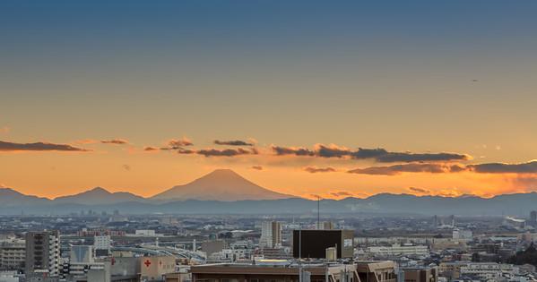 View towards mount Fuji from Omiya.