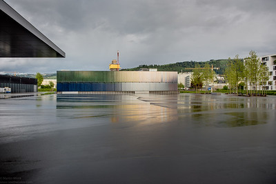 Bossard Arena in Zug after the rain stopped. HDR from 3 handheld exposures.