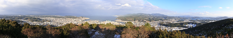 View from the Juman Yama 十万山in Hondo Amakusa, Kumamoto-ken, Japan. Stitched from 5 landscape shots.