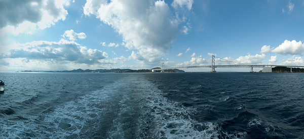 The view towards the Naruto strait with the Onaruto bridge, assembled from 6 handheld portrait shots from the boat (!). Taken on 24. 12. 2011.