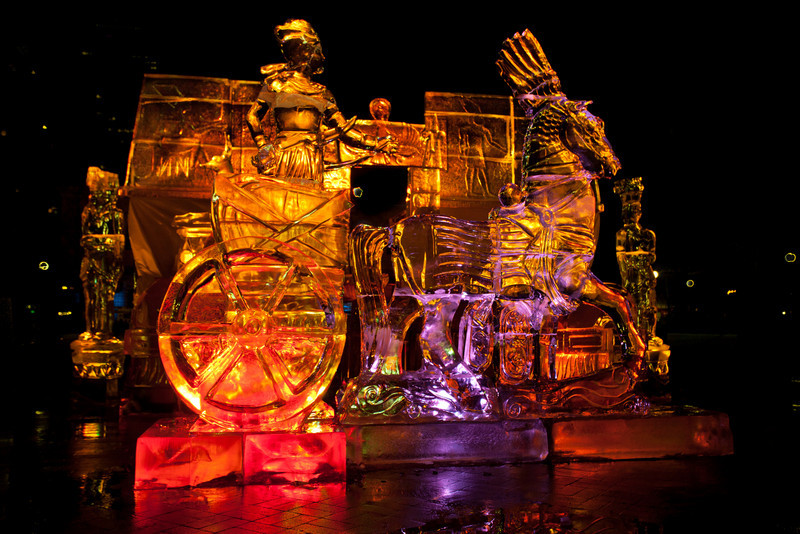 Ice sculpture, Boston, New year celebrations..