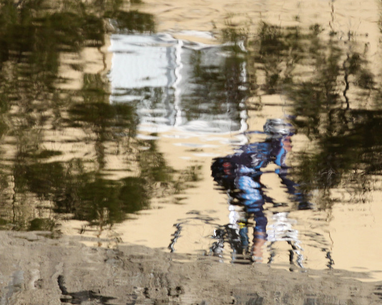 Bike rider along Rose Creek path, near Garnet Street.  Reflection in water of Rose Creek.