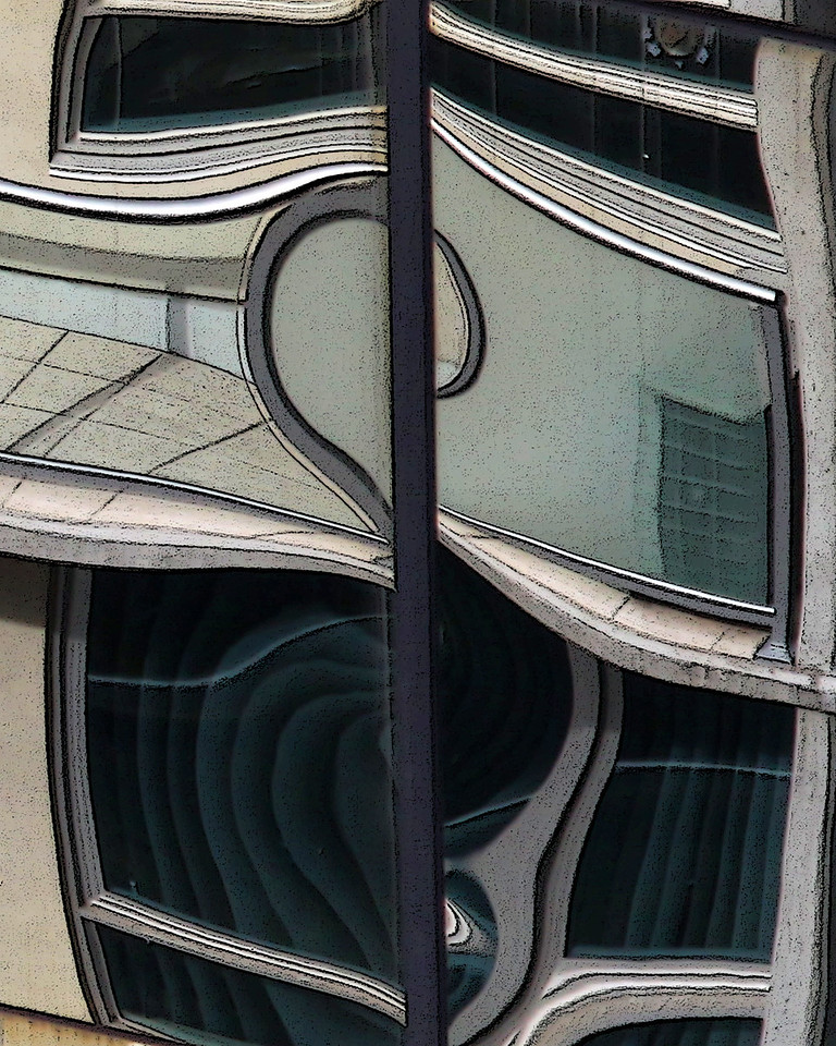 Reflection in windows of downtown San Diego building.  Texture treatment of image.