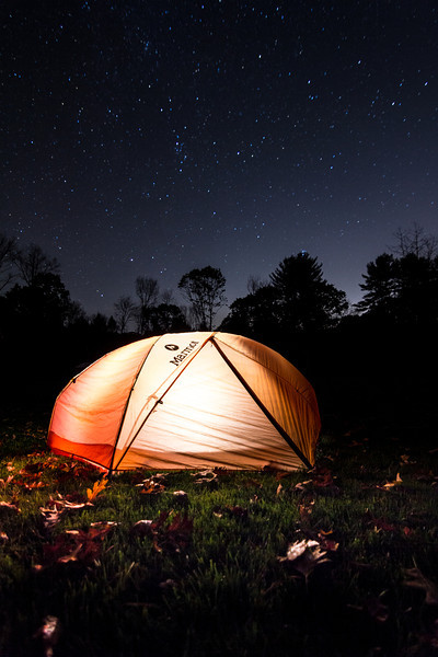 Playing with my tent under the stars.
