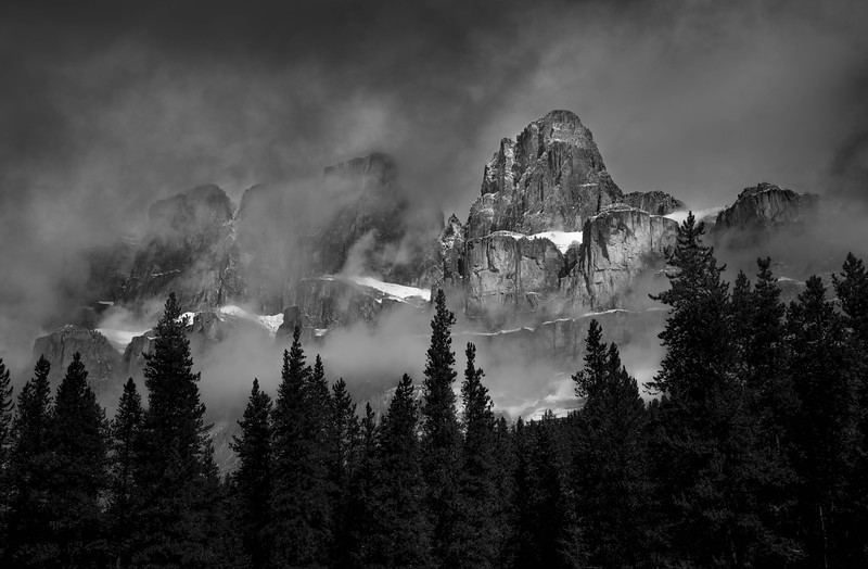 Castle Mountain and Clouds - Banff, Canada