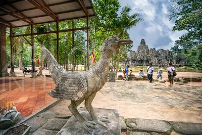 Bird Statue Looking at Bayon Temple