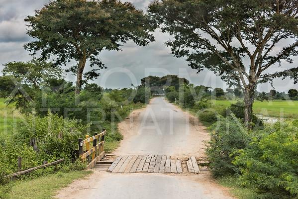 Old Wood Bridge in Burma