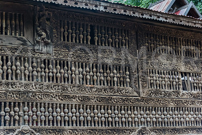 A Wall of Burmese Wooden Spindles