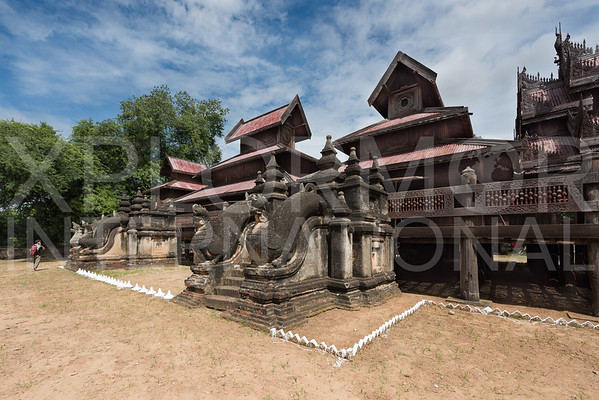 Lions guard the entrances to Sala Wooden Monastery