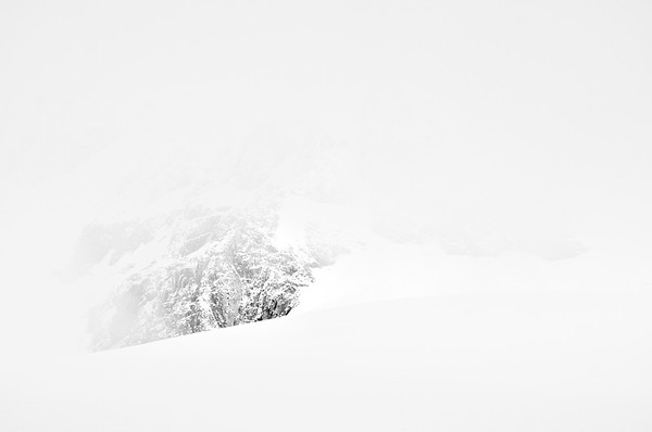 A mountain disappears - black and white