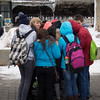 """""""Penguining"""":  staying warm while waiting for the ferry to Liberty Island"""